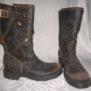 ASH Distressed Studded Engineer Harness Boots 35.5